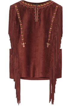 ISABEL MARANT Marcus Fringed Suede Top. #isabelmarant #cloth #top