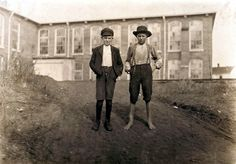 """November 1908, Chester, South Carolina. Willie Crocker, (barefoot) Wylie Mill, Chester, S.C. 13 years old-- """"worked since I was 6 years old."""" Lost part of finger in gear of machinery. Fred Crocker--11 years old. 1 year in mill. Lewis Wickes Hine LC-DIG-nclc-01417 www.loc.gov #American #History #SouthCarolina"""