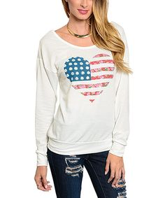Love this Ivory Flag Heart Cutout Tee by  on #zulily! #zulilyfinds