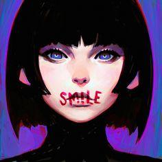 Smile by Kuvshinov-Ilya, Digital Painting, Character Portrait, Dark, Inspirational Art