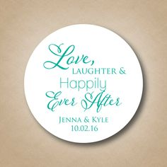 Love Laughter Hily Ever After Wedding Favor Stickers Personalized Bridal Shower Labels Custom Cake Box