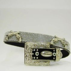 Montana West Bling Belts | ATLAS BELT Silver Crystal Pistol N Rhinestone Studded on Black Leather ...