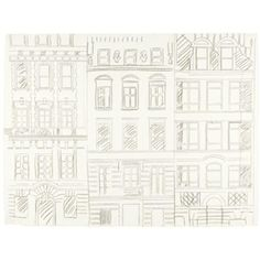 Andy Warhol, Three Buildings on East 66th Street, 1984, pencil on paper