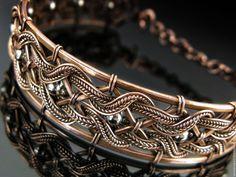 Купить Браслет Эдельвейс - комбинированный, браслет, металлический, медный, медные украшения, украшения из меди