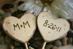 Rustic Wedding Decorations Cake Toppers Personalized with Your Initials and Wedding Date On Hearts Rustic Wedding Decor Wood Cake Toppers
