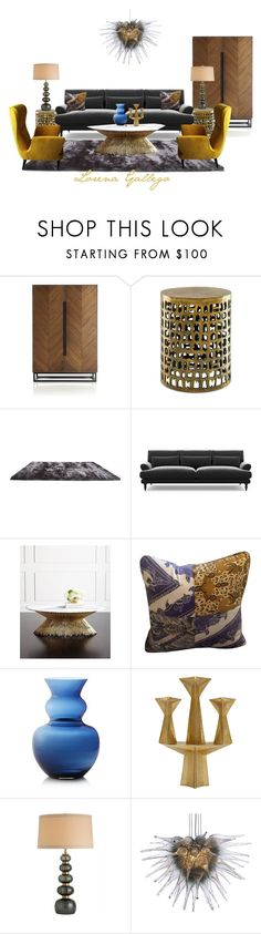 """Gris y Mostaza"" by lorena-gallego on Polyvore featuring interior, interiors, interior design, home, home decor, interior decorating, Crate and Barrel, Currey & Company, Gold Sparrow and Ambella"