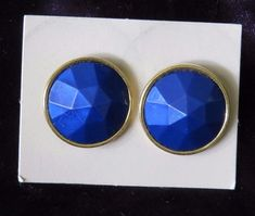 Vtg Avon Royal blue Facets goldtone Pierced Earrings New costume jewelry NOS Box #Avon #Cluster