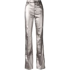 Sonia Rykiel Metallic Coated Bootcut Jeans ($275) ❤ liked on Polyvore featuring jeans, pants, trousers, grey, boot cut jeans, sonia rykiel, grey jeans, gray jeans and bootcut jeans
