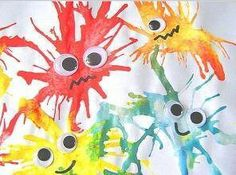 Rainy Day Activities - Blow paint monsters & many other fun things Kids Crafts, Craft Activities For Kids, Crafts To Do, Projects For Kids, Art Projects, Arts And Crafts, Indoor Activities, Craft Ideas, Family Crafts