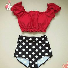 """Vimtage style bikini set Adorable vintage pinuo bikini set. Off shoulder top( has padding for support) bottoms are high waist  *swimsuit runs small, order 1size up if you wish**   DO NOT BUY THIS LISTING, ASK FOR YOUR SIZE AND A SEPARATE ONE WILL BE CREATED FOR YOU!!  *NO TRADES, PLEASE DON'T ASK! *NO """"LOWEST"""" PRICES ARE FIRM  *SHIPPING TAKES 7-20 DAYS FOR PROCESSING/SHIPPING Swim Bikinis"""
