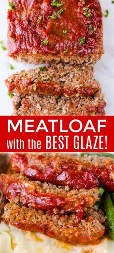 B homemade Meatloaf Recipe. The meatloaf is so tender and juicy on the inside with a sweet and tangy sauce that glazes the meatloaf and adds so much flavor! Classic Meatloaf Recipe, Good Meatloaf Recipe, Meat Loaf Recipe Easy, Best Meatloaf, Sauce For Meatloaf, Healthy Meatloaf Recipes, Meatloaf Recipe With Ritz Crackers, Meatloaf In Oven, Gourmet