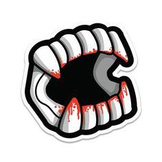 A bloody re-imagining of our popular Vampire Teeth enamel pin. Now with fun, fake blood! squareglossy, weather-proofed vinyl sticker (indoor and outdoor use) Halloween Teeth, Halloween Stickers, Halloween Cookies, Preppy Stickers, Cute Stickers, Fake Vampire Teeth, Tooth Tattoo, Teeth Drawing, Traditional Ink