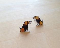 Dog Lover Geometric Beagle Post Earrings
