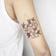 Sakura blossoms & triangle. Graeme Maunder. #floraltattoo #peonies #tattoo #girl #tattoos #graememaundertattoo