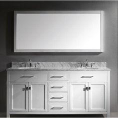 Ensemble de meuble-lavabo double de 72 po Borough Park de Brayden Studio® avec robinet de Marble Vanity Tops, Marble Top, White Marble, White Sink, Carrara Marble, Bathroom Vanity Cabinets, Single Bathroom Vanity, Master Bathroom, Double Bath