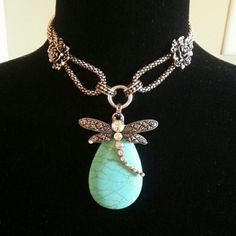Novadab Jewelry - Novadab Dragonfly Turquoise necklace