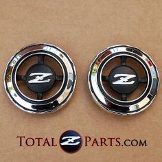 Datsun 240z, 260z, 280z Metal Roof Pillar Emblems Pair 71-78 *NEW, Old Stock*