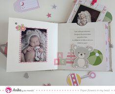 Tutorial para hacer un mini álbum bebé utilizando tela y papel estampado de la colección Rosa Bebé de Anita y su mundo #Tutorial #AlbumBebe #Scrapbooking