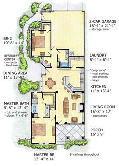 First Floor Plan of Bungalow   Craftsman   Narrow Lot   House Plan 56504