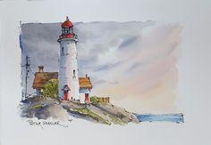 Lighthouse, 5x7 Fine Art Original Watercolor Peter Sheeler Line and wash sunset #Realism