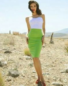 White & green dress