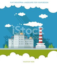 Industrial landscape set. The nuclear power plant and factory royalty-free stock vector art