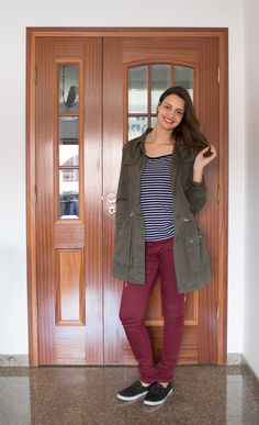 Combinação preferida do momento: Burgundy, verde militar e listras! E claro tenis slip on!/ Perfect combination: Stripes, military green and burgundy