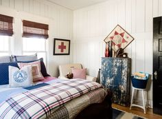 """""""Think beyond frames and mirrors!"""" says Trinity, who adorned the walls of her sons' bedrooms with antique games like an old-fashioned Chinese checkerboard, as well as rackets and croquet mallets purchased for $5 apiece from ReStore (a Habitat for Humanity outlet).   - CountryLiving.com"""