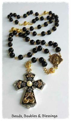Rosary - Black Beaded Like us on Facebook;  Beads, Baubles & Blessings Etsy shop;  beadsbaublesblessing