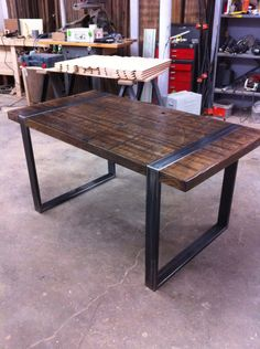 Reclaimed Wood And Steel Dining Table.King's Cross Reclaimed Wood Dining Table With X Frame By . Steel Furniture, Diy Furniture, Furniture Design, Furniture Online, Furniture Stores, Discount Furniture, Industrial Dining, Industrial Furniture, Industrial Restaurant