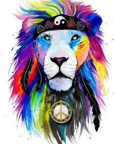 "Brand New ""Hippie Lion"" Design!!! Artist: @pixie_cold Shop: www.ElectroThreads.com ✌️"