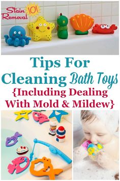 Here are tips for cleaning bath toys, including how to deal with mold and mildew on the toys, how to keep the mold from forming in the future, and which types of bath toys are easiest to clean on Stain Removal 101 Deep Cleaning Tips, House Cleaning Tips, Cleaning Solutions, Spring Cleaning, Cleaning Hacks, Cleaning Supplies, Cleaning Bath Toys, Toilet Cleaning, Homemade Toilet Cleaner