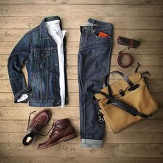 Outfit grid - double denim perfection outfit grids мужская п Komplette Outfits, Casual Outfits, Fashion Outfits, Mode Masculine, Stylish Men, Men Casual, Stylish Clothes, Style Masculin, Moda Blog
