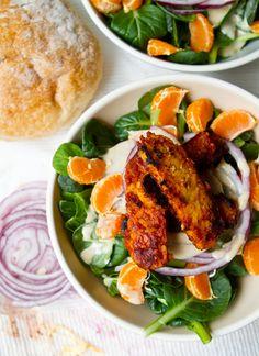 20 Delicious Tempeh Recipes for the Meatless Cook // BBQ Tempeh Tahini Citrus Salad Vegan Bbq Recipes, Citrus Recipes, Veggie Recipes, Salad Recipes, Healthy Recipes, Healthy Foods, Copycat Recipes, Tempeh, Tofu