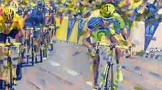 PAINTING LE TOUR: Tour de France 2012, Peter Sagan - this was Peter Sagans first ever stage in le tour  and he  wins it....beating Cancellara!
