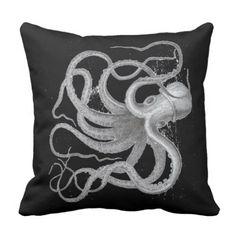 Nautical steampunk octopus antique vintage kraken throw pillow