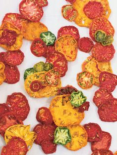 tomato chips; use as a garnish or as a quick snack - definitely doing this when home grown tomatoes are in season!