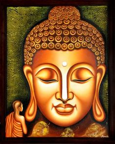 Buy Lord Buddha Painting artwork number a famous painting by an Indian Artist Ramesh Patel. Indian Art Ideas offer contemporary and modern art at reasonable price. Buddha Artwork, Buddha Wall Art, Buddha Head, Budha Painting, Mural Painting, Hamsa, Buddha Kunst, Buddha Canvas, Indian Contemporary Art