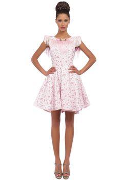 Robe de Cocktail en popeline de coton imprimée petits oiseaux, rose pâle.  #RobePatineuse #RobeRose #RobeImprimee  #RobeRomantique