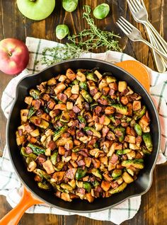 Chicken Bacon Brussels Sprouts Skillet with Sweet Potatoes and Sauteed Apples. E… Chicken Bacon Brussels Sprouts Skillet with Sweet Potatoes and Sauteed Apples. Every fall flavor you love, in a healthy, delicious one-pan meal! Chicken Skillet Recipes, Chicken Bacon, Healthy Chicken Recipes, Potato Recipes, Raw Chicken, Chicken Potatoes, Chicken Meals, Healthy Dishes, Chicken Salad