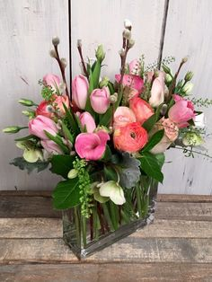 Flowers near me for delivery and all occasions. Our Spring Thicket includes various shades of pink in seasonal blooms accented with pussy willow, hellebores and pennycress in a narrow rectangular vase. Summer Flower Arrangements, Vase Arrangements, Floral Centerpieces, Summer Flowers, Flower Vases, Silk Flowers, Beautiful Flowers, Valentines Flowers, Altar Decorations