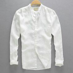 2017 Ilkbahar ve Sonbahar Erkek Uzun kollu Gömlek Keten erkek Giyim Düz Renk Rahat Standı Yaka Ince Gömlek sıvı Beyaz Gömlek