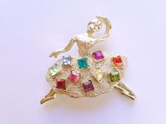 Art Deco Ballerina Brooch Colorful Flower Dress Vintage Style Pin Broach Gift