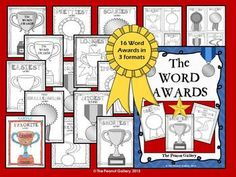 Fun and creative END OF YEAR ceremony- The Word Awards...Students design their own awards for words they have learned throughout the year. These word awards can be used in many ways in the classroom. Students can use vocabulary words, spelling words, word wall words, etc. The set includes 16 full page awards (along with a cover in case you would like students to make booklets) in three different formats. ($)