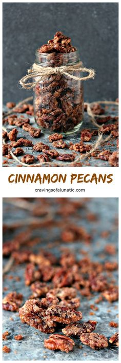 Cinnamon Pecans from cravingsofalunatic.com- Pecans coated with sugar and cinnamon, then toasted in the oven to perfection. Eat your fill, but don't look at the flowers! (@CravingsLunatic):