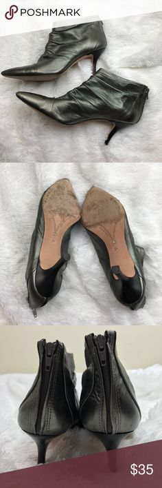 """Corso Como Silver Metallic Pointed Toe Ankle Boots Super cute size 8 booties. In very good used condition. No noticeable scuffs or marks and normal wear on the bottoms. They are a thin slouchy material. Very pretty shiny silver color. Leather sole. 3"""" heel. Made in Brazil. Corso Como Shoes"""