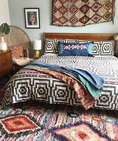Awesome Colorful Moroccan Rugs Decor Ideas - Home Design - lmolnar - Best Design and Decoration You Need Bohemian Bedroom Design, Bohemian Interior, Bohemian Decor, Bohemian Bedrooms, Bedroom Designs, Boho, Bohemian House, Deco Boheme, Beautiful Bedrooms