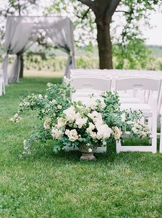 Ceremony Arrangement Style Inspiration. Add Color. Place on Pedestals at Entry to Aisle.