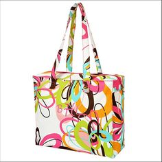 Monogrammed Tote Bag - Tutti Frutti Zip Top Tote - - Be sure to shop all of our monogrammed selections at www.shopmandn.com