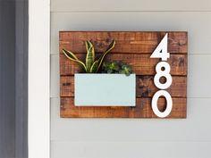 create an address number wall planter